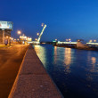 Stock Photo: Embankment of Nevriver at night