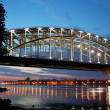 Finland Railway Bridge at white night - Stock Photo
