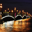 Night view of the Troitsky Bridge — Stock Photo