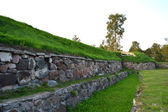 Wall of old Korela fortress at evening — Стоковое фото
