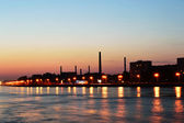 October embankment and Neva river after sunset — Стоковое фото