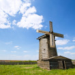 Wooden windmill in russian village — Stock Photo