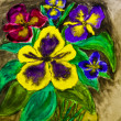 Stock Photo: Pansies, painting