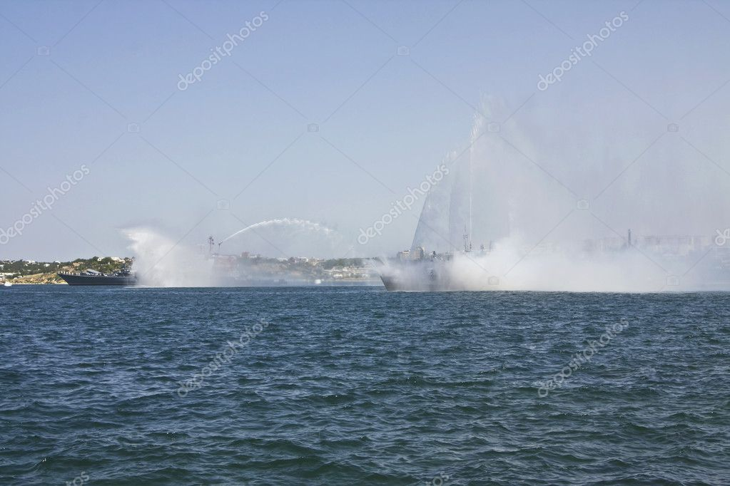Russian military ship on navy parade in town Sevastopol in region Crimea on Black sea. — Stock Photo #10215499