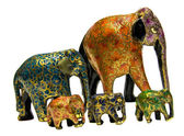 Wooden painted elephants, India — Stock Photo