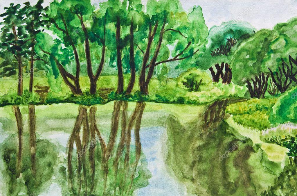 夏天风景, 手绘的图片