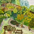 Garden, painting — Stock Photo