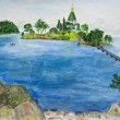Hand painted picture, Valaam island, Russia - Stock Photo