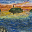 Stock Photo: Hand painted picture - island with church on sunset.