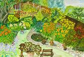 Cuadro, jardín pintado a mano — Foto de Stock