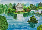 Hand painted picture, house with lake — Stock Photo