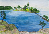 Hand painted picture, Valaam island, Russia — Stock Photo