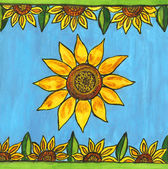 Painted design with sunflowers — Stock Photo