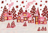 Christmas picture in raspberry pink colours — Stock Photo
