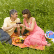 Stock Photo: Young couple on picnic