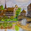 Stockfoto: Hand painted picture, Nuremberg