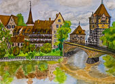 Hand painted picture, Nuremberg — Stock Photo