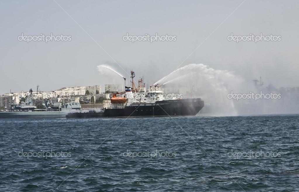 Russian military ship on navy parade in town Sevastopol in Crimea on Black sea. — Stock Photo #8970617