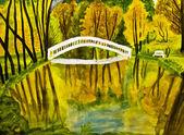 Autumn landscape, painting, watercolours — Stock Photo