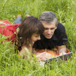 Couple with computer on grass — Stock Photo