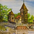 Nuremberg, painting — Stock Photo