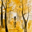 Stock Photo: Couple on autumn alley, painting