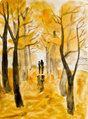 Couple on autumn alley, painting — Stock Photo