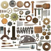 Big collection old Screw heads, bolts, gears clock mechanism — Stock Photo