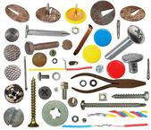 Collection screw heads, push pins, bolts, pincers, wire, isolated on white — Stock Photo