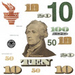 10 $ banknote, photo dollar bill elements isolated on white background - Stock Photo