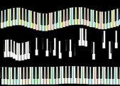 Touches du piano isolées sur fond noir, texture — Photo
