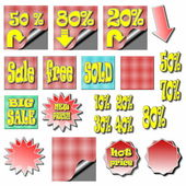 Set sale stickers and labels — Stock Photo