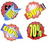 Zestaw sprzedaż kolorowych naklejek i etykiet — Zdjęcie stockowe