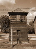 Watchtower in Auschwitz and Electrified Fence — Stok fotoğraf
