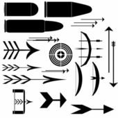 Collection, bow, crossbow, arrows, targets and bullet — Stock Photo