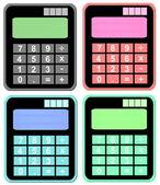 Instellen van kleurrijke calculatorpictogram geïsoleerd op witte achtergrond — Stockfoto