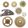 Set gears clock mechanism isolated on white background — Stock Photo