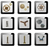 3d mechanical icons, (buttons) — Foto Stock