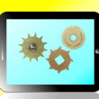 3d Black tablet pc with gears mechanism on white background — Stock Photo