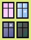 Illustration window isolated on yellow background — Photo