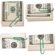 Set pack $ 100 dollar bills and paper clip isolated on white — Stock Photo