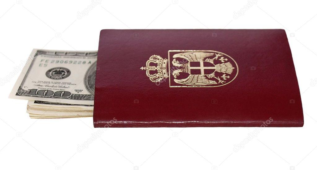 Passaporto Biometrico Italiano Passaporto Biometrico e la Banconota da Cento Dollari Isolato su Sfondo
