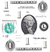 Set of original detail 1 $ dollars, with Washington — Stock Photo