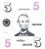 Set detail 5 $ dollars, with Lincoln, isolated on white background — Stock Photo
