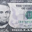 5 dollars banknote macro — Stock Photo