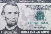 5 dollars banknote macro — Stock Photo