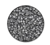 Aluminum can of lead pellets isolated on white — Stock Photo