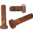 Old rusty Screw heads, bolts, wheels screw isolated on white background — Stock Photo