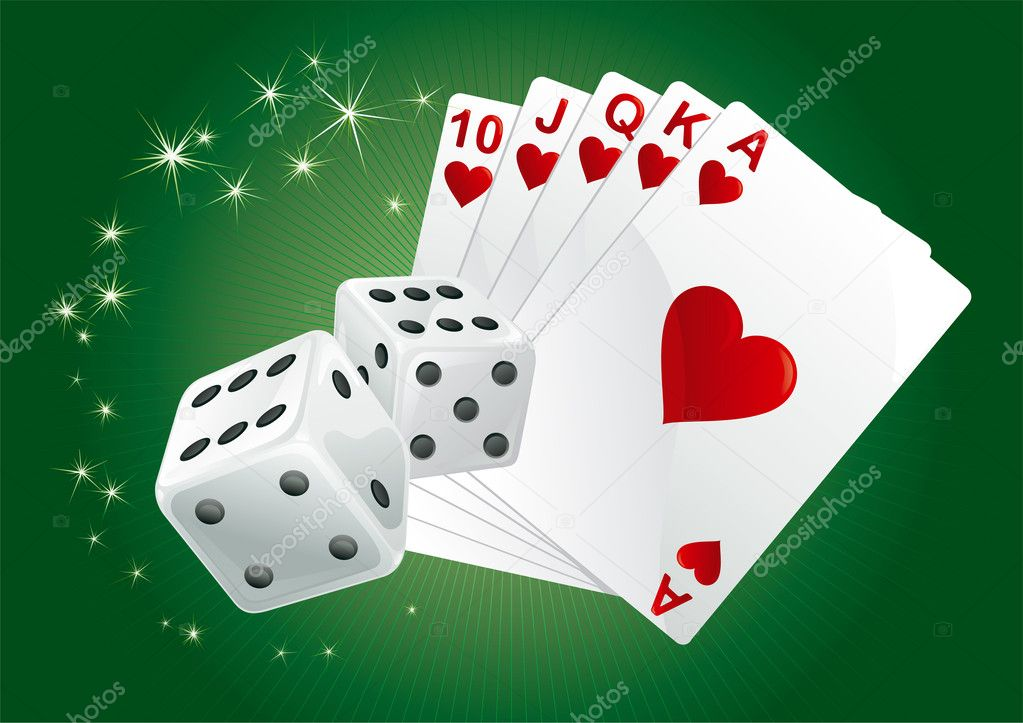 Casino dices and  cards on green rays background. There are no meshes in this image. — Stock Vector #8176595