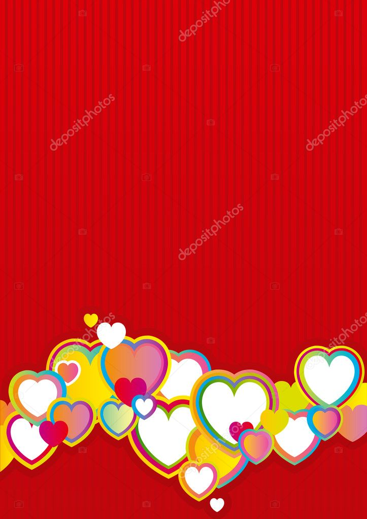 Vector red background with many color hearts. — Stock Vector #8202831